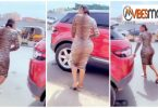 Heavy backside Slay queen cause traffic as she pack her Range in the middle of a road
