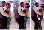 Awkward moment as bride snubs her husband's attempt at kissing her during their wedding reception