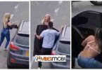 Woman catches her man banging her friend in a car on the roadside