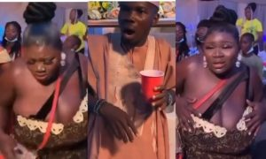 WATCH: Lady with huge melons causes stir as a wedding guest couldn't keep his eyes off her